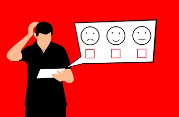 illustration of a man deciding between a happy face or a sad face on a paper