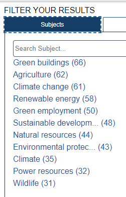 Search results showing ways to limit within the results.