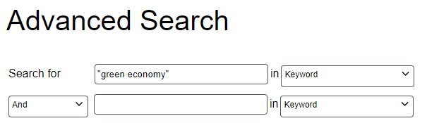 """database search box showing a search for """"green economy"""""""