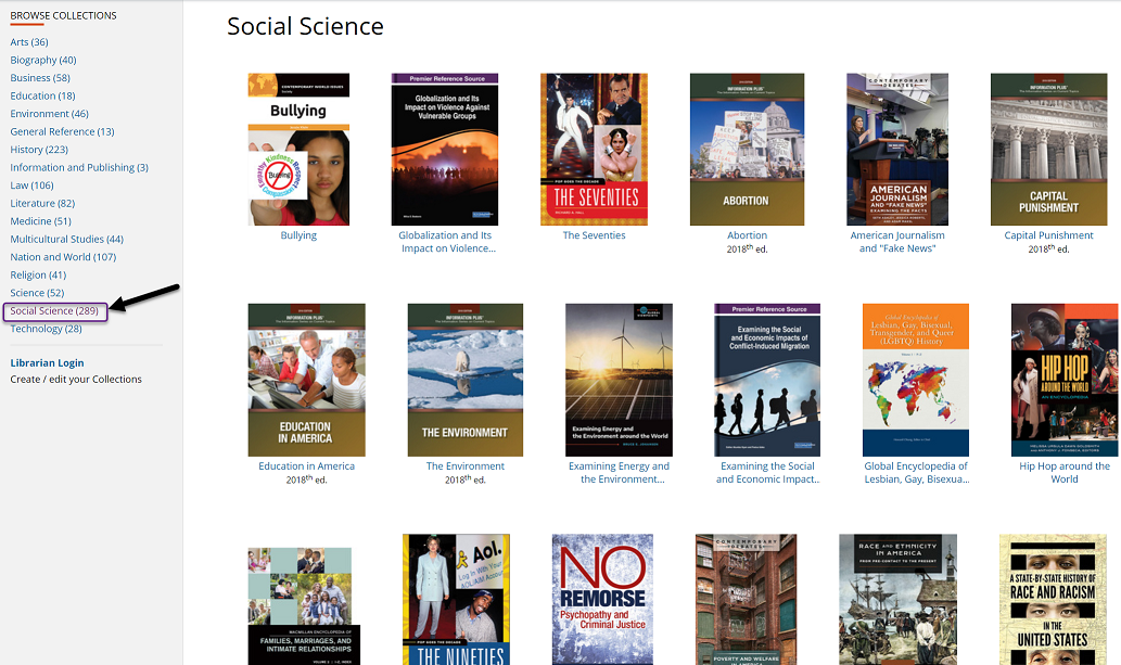 Social Sciences Subject Browse in GVRL