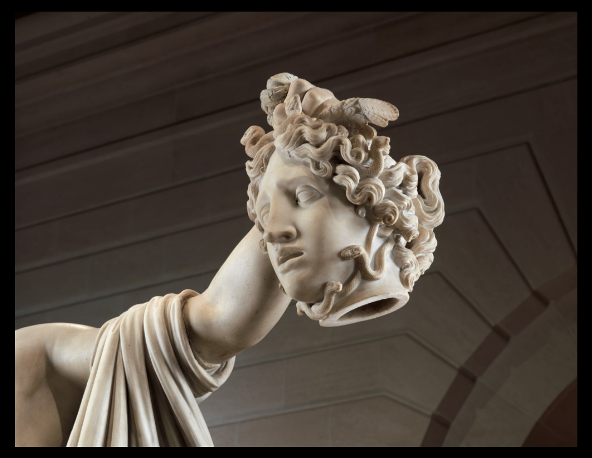 """photo of the head of medusa,""""Perseus with the Head of Medusa"""" statue"""