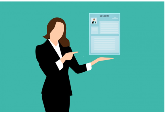 illustration woman with resume