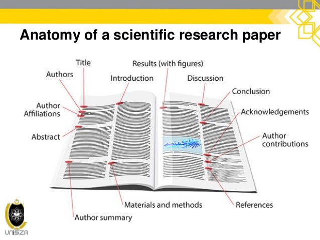 this image shows an open journal with the parts of an article labelled, such as the title, author, reference section and so forth