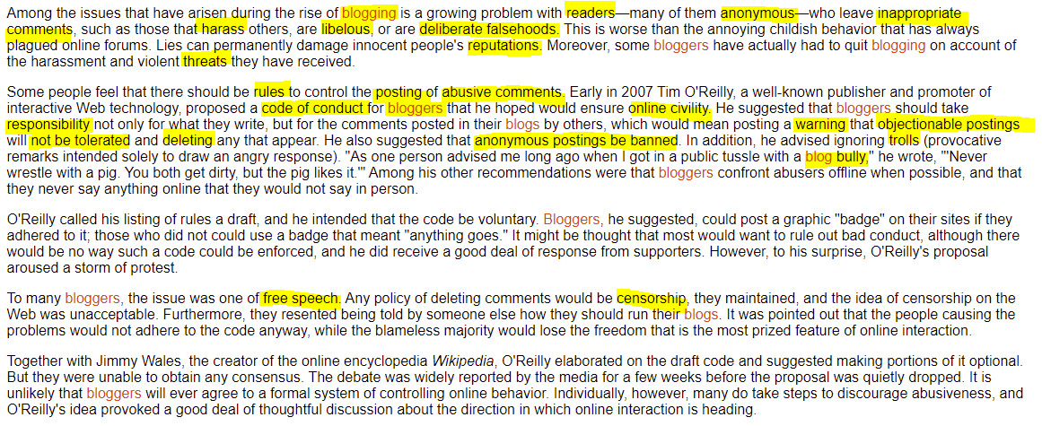 Highlighting keywords from a GVRL article on blogging