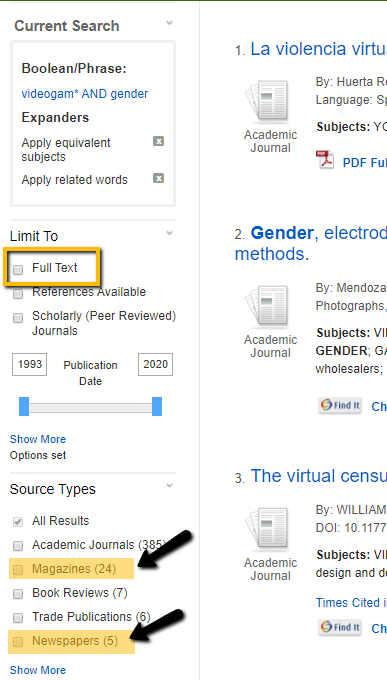 "screenshot of the database showing how to limit to magazines and newspapers under ""source types"" on the left-hand side of the results page in academic search"