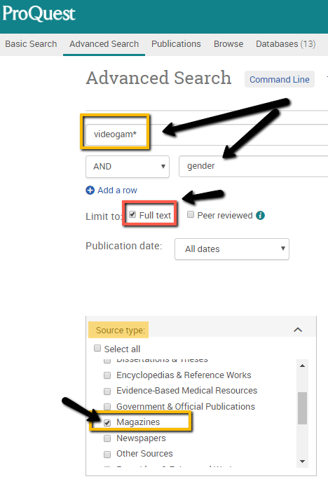 screenshot of the advanced search page in PQ showing how to limit to a specific source type, as outlined in the instructions above the image