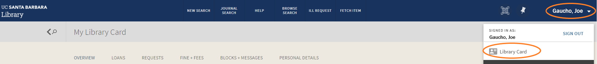 login and select library card info for UC Library Search
