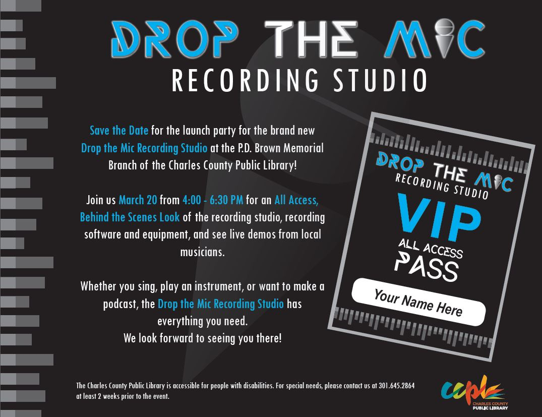 poster with details about Drop the Mic opening event