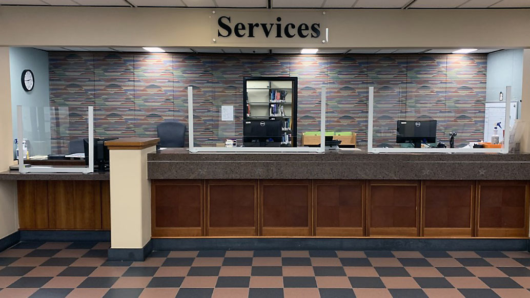 Photograph of the Access Services Desk on the second floor.
