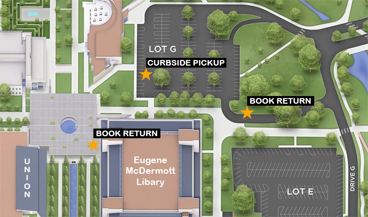 Aerial map of McDermott Library displaying book drop at west entrance and the box located at the driveway in the exiting lane of parking lot G