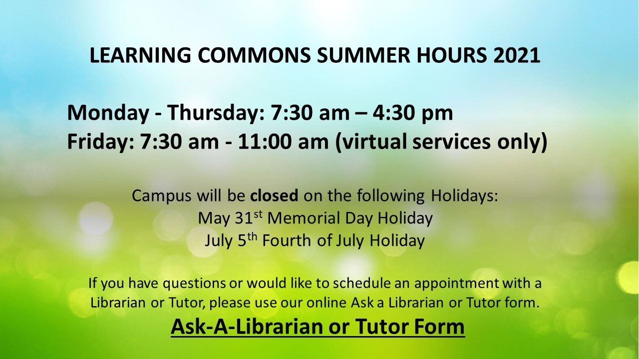 Learning Commons Summer Hours