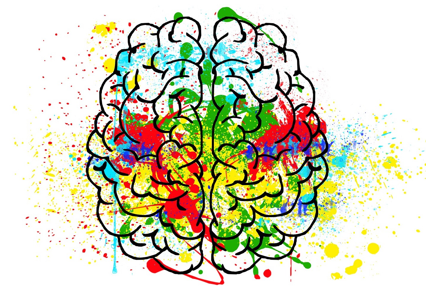 Line drawing of a brain with colorful paint splotches over it