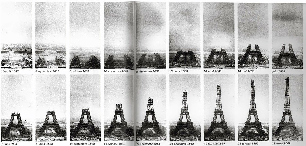 time-lapse photographs of the Eiffel Tower being built in Paris