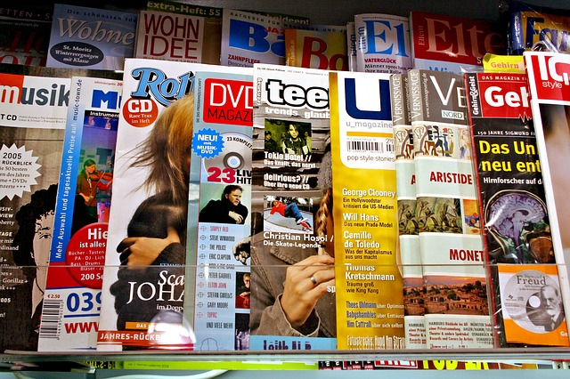 rows of magazines on a display