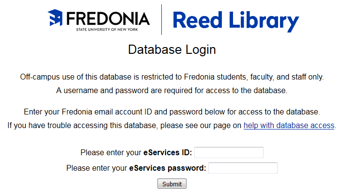 Screenshot showing the database login page