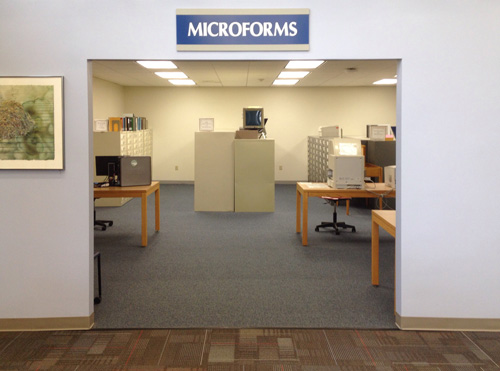 A photograph of Reed Library's Microforms Room