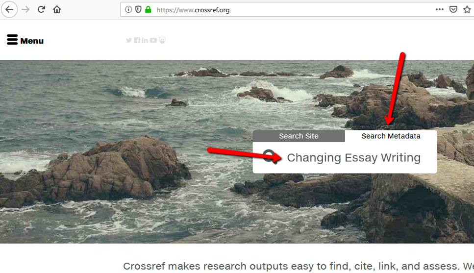crossref search screen