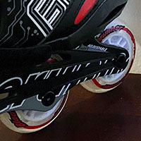 Close up of roller blade wheels