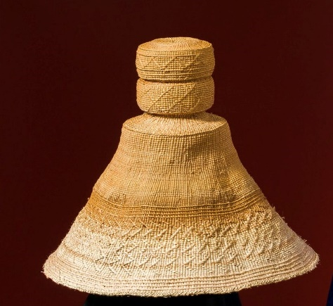 Woven hat made of spruce root.