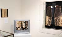 Three artworks shown: a painting made from salmon skin, a TV with sewn seal fur pieces in place of the screen, and a vest made from seal and sea otter fur