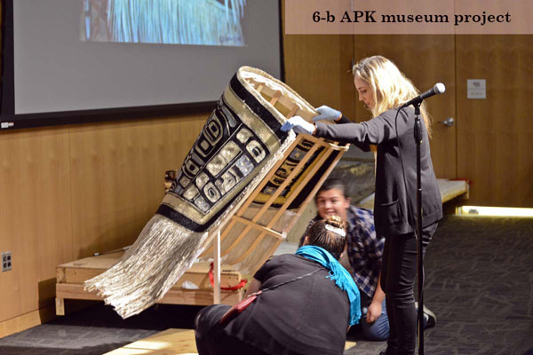 Chilkat blanket display being set up by 3 women. (6-b APK museum project)