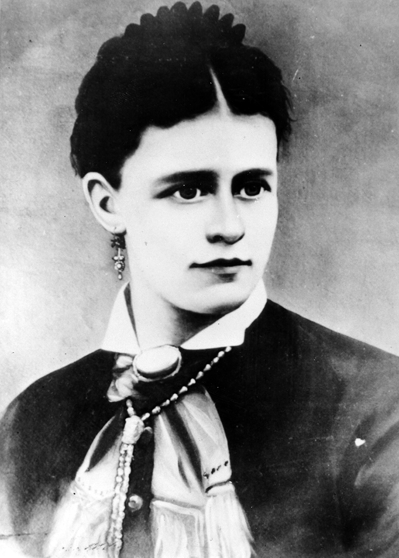A portrait of Nellie Cashman as a young woman with dark hair and dark eyes.