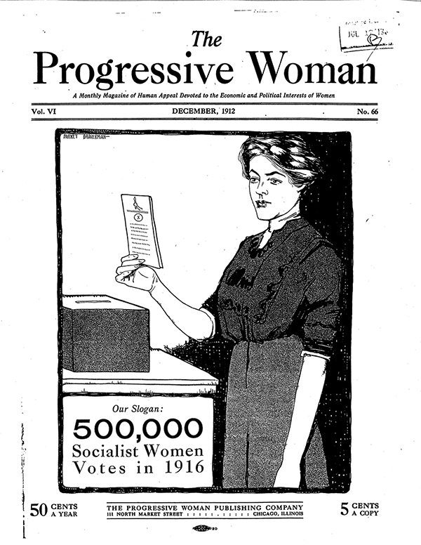 Cover of magazine Progressive Woman portrays a line drawing of a woman holding a ballot before a ballot box. It reads: 500,000 Socialist women voters in 1916.