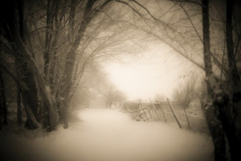 Photograph by David Michael Kennedy of a road and fence in the snow, printed in sepia tone using the palladium print method.