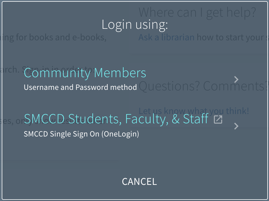 OneSearch login for Community Members and SMCCD students, faculty, and staff