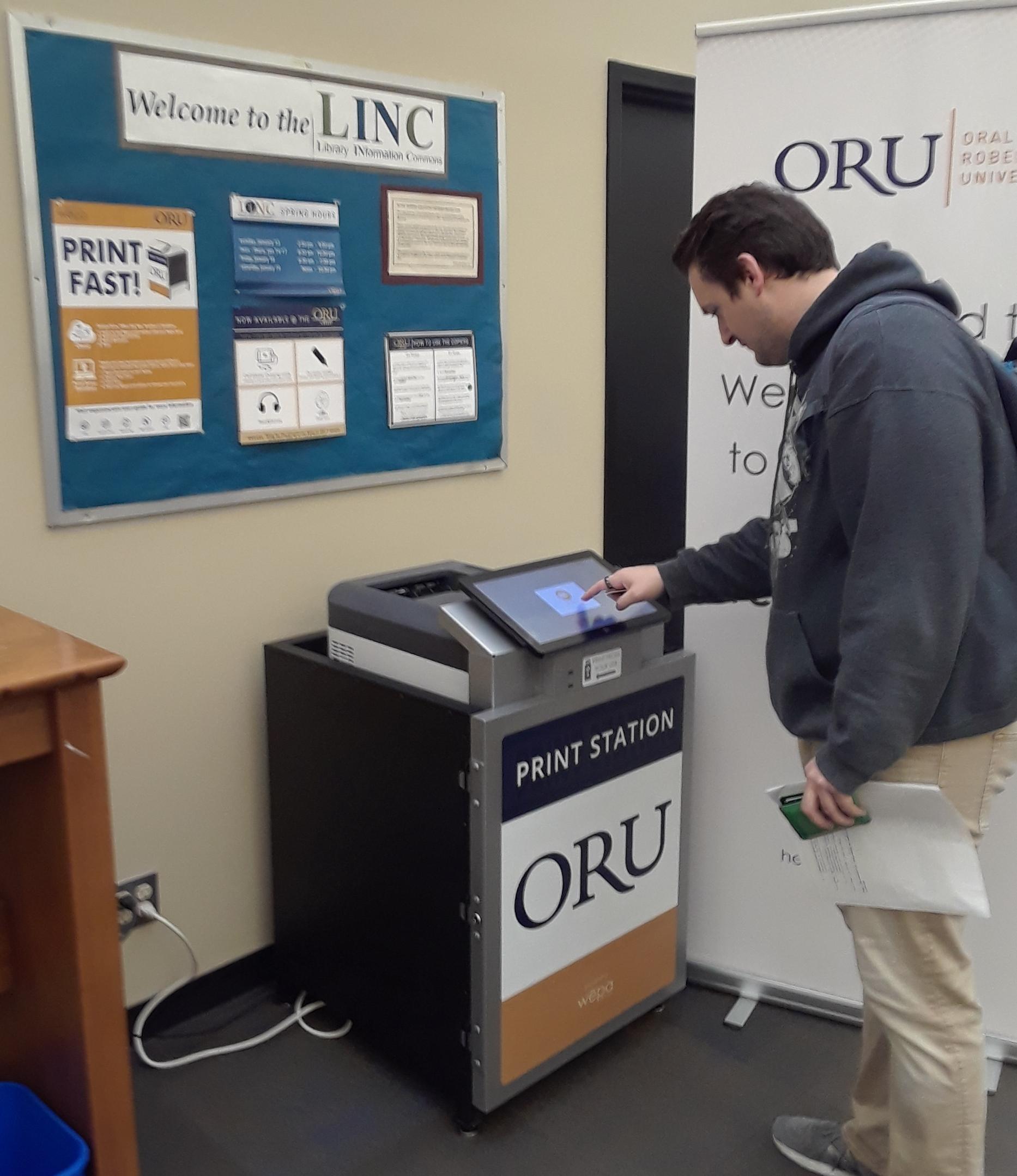 student using WEPA  printer