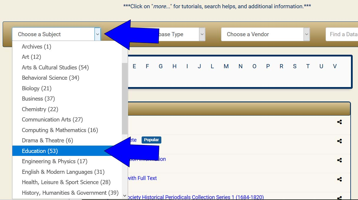 database listing page, selecting subject education databases