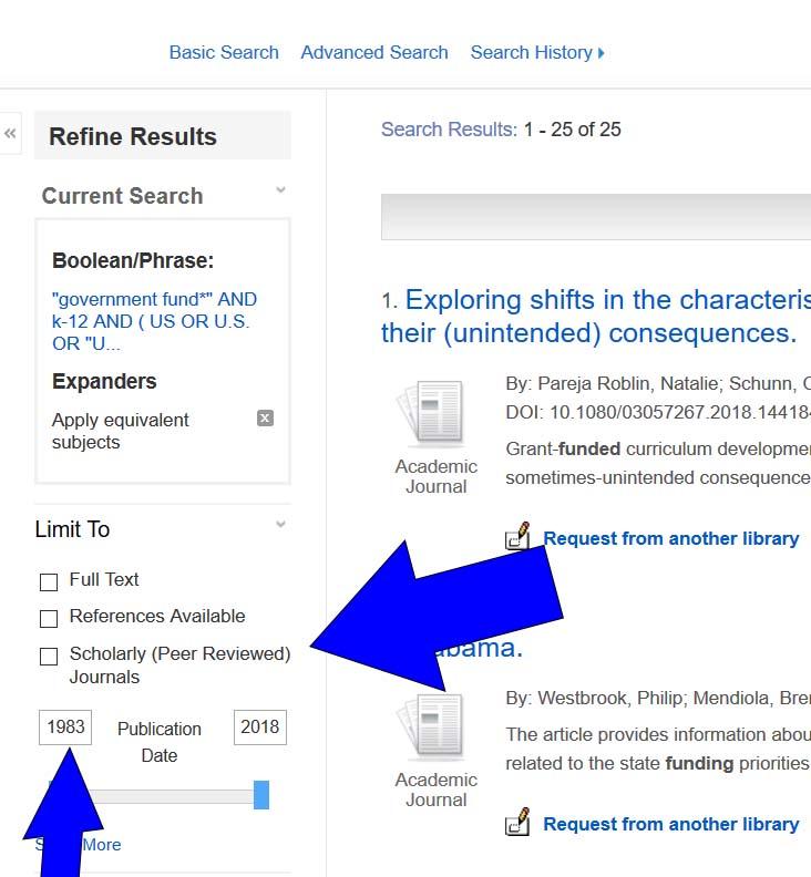 Education database limits