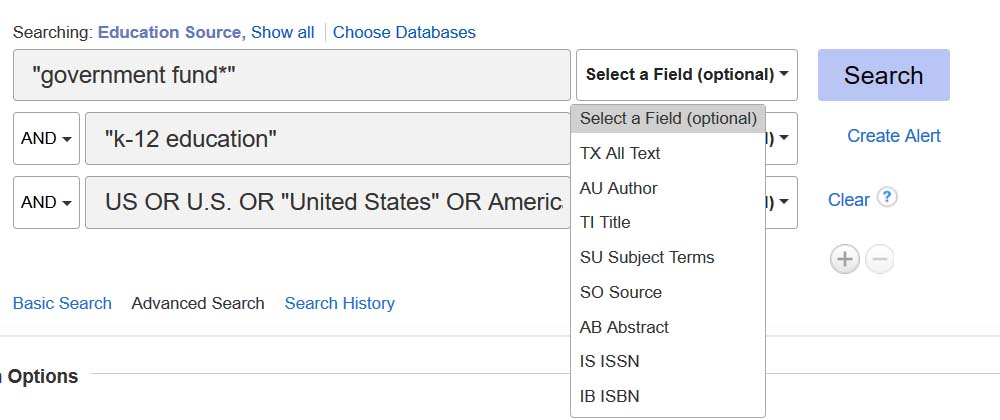 example EBSCO Education database search