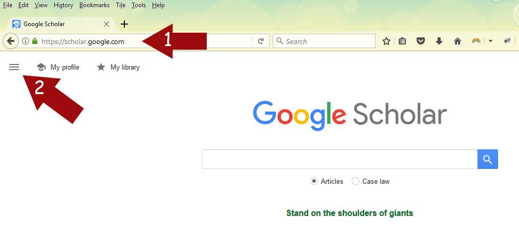 Google Scholar Home page