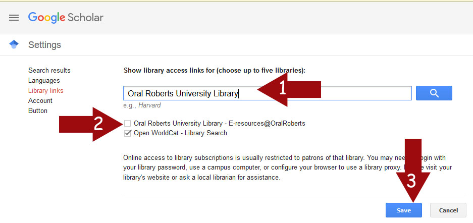 Google Scholar Library Links settings