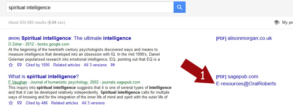 Google Scholar results showing e-Resources at Oral Roberts University Library link at right