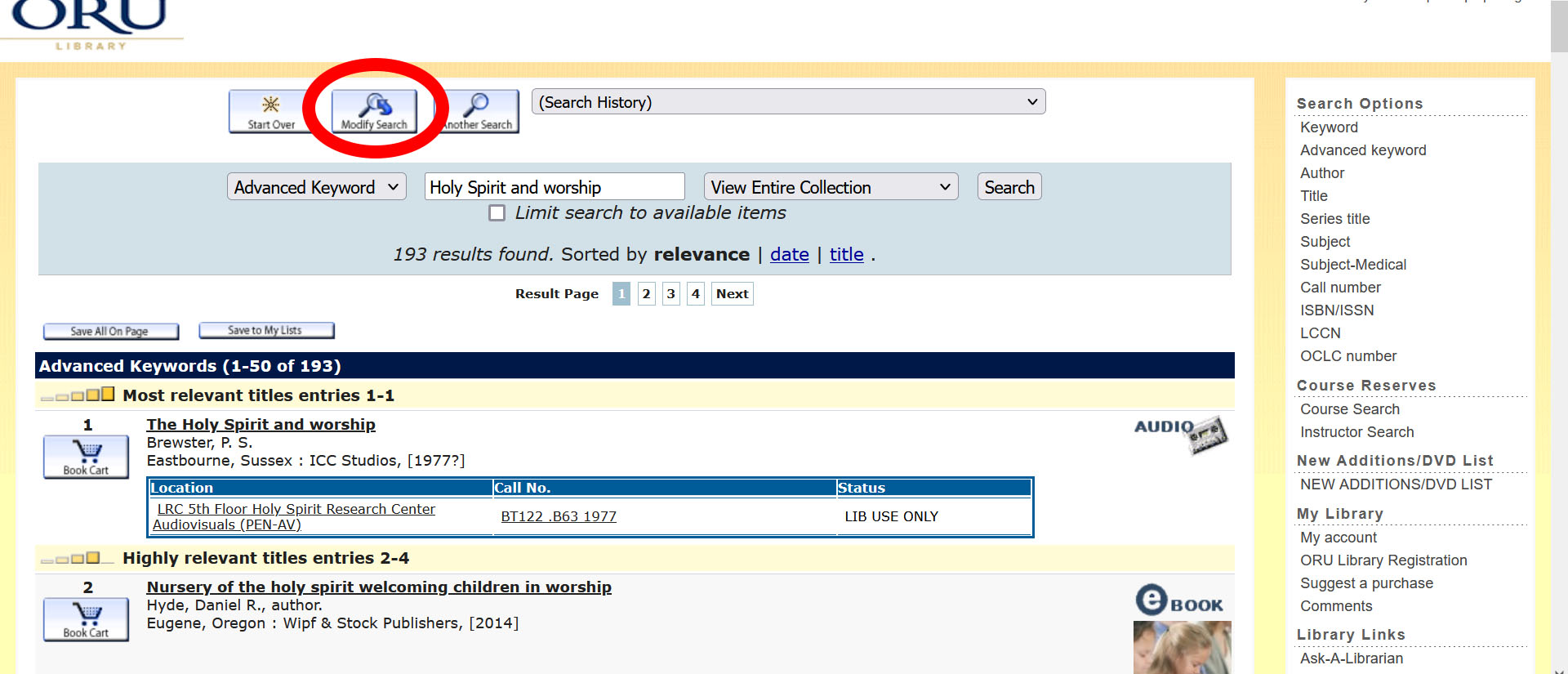 modify catalog search results