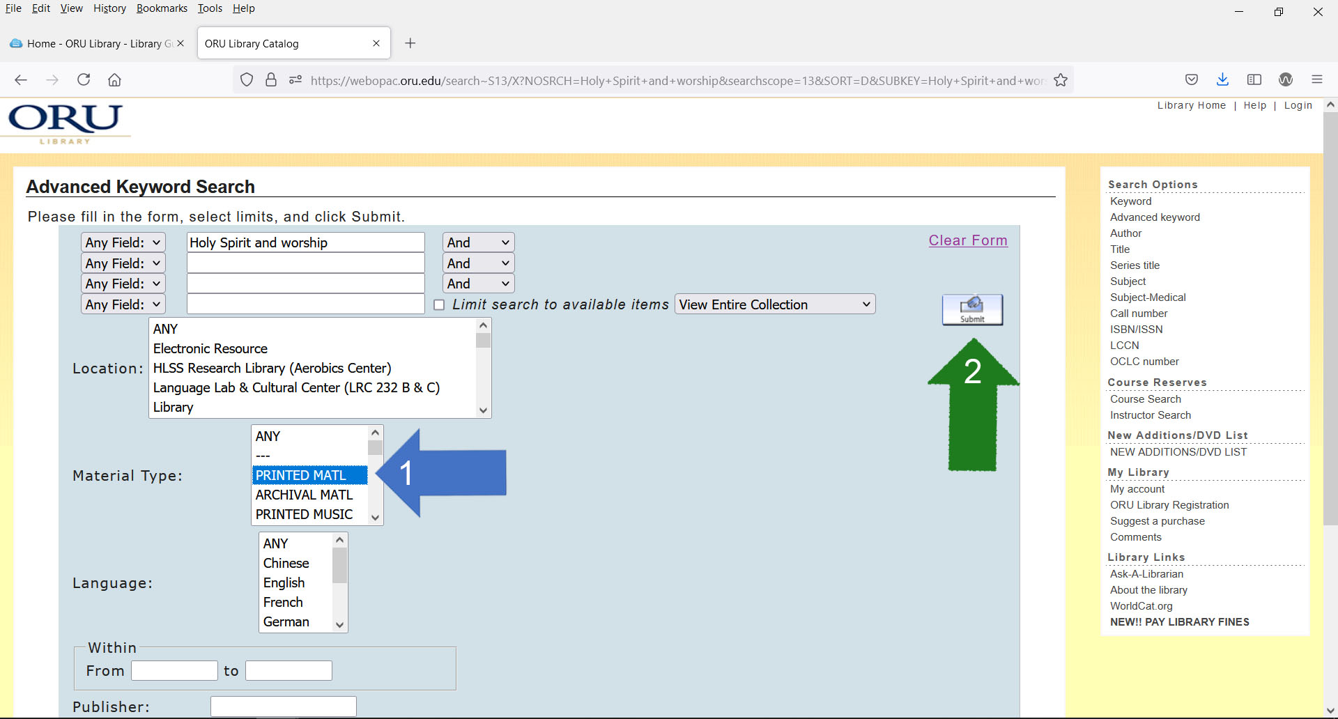 modify catalog results by limiting to print materials