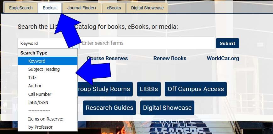quick search box, Books+ tab