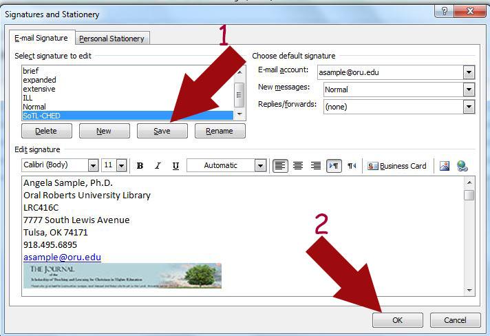 Outlook signature popup menu