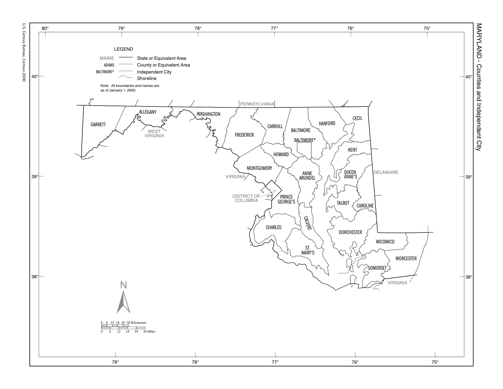 MD County Outline Map, link to Census Bureau