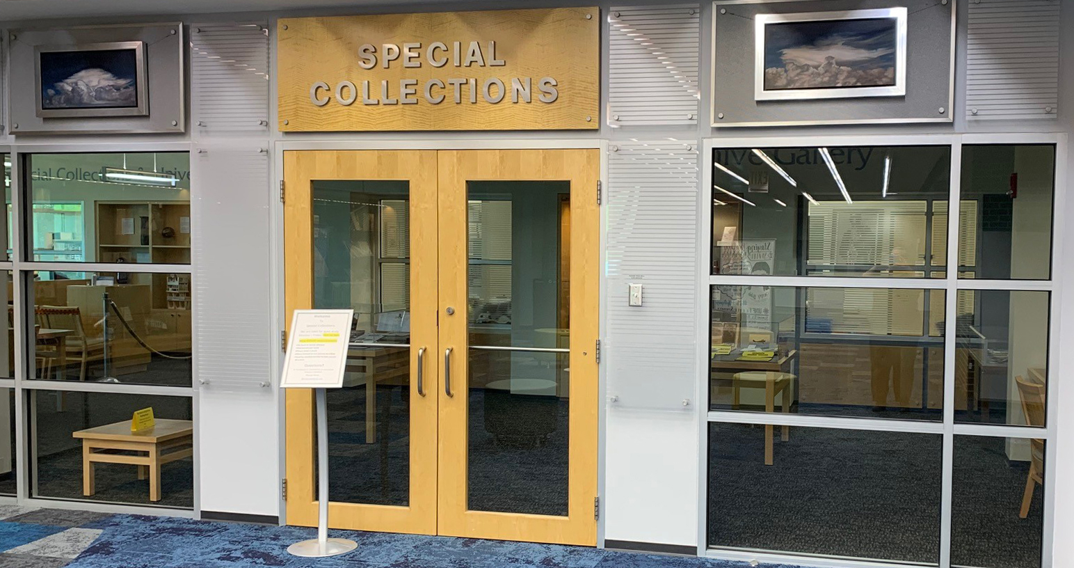 The entrance to Special Collections in the Thomas G. Carpenter Library.