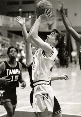 Black and white photo of the UNF women's basketball team.