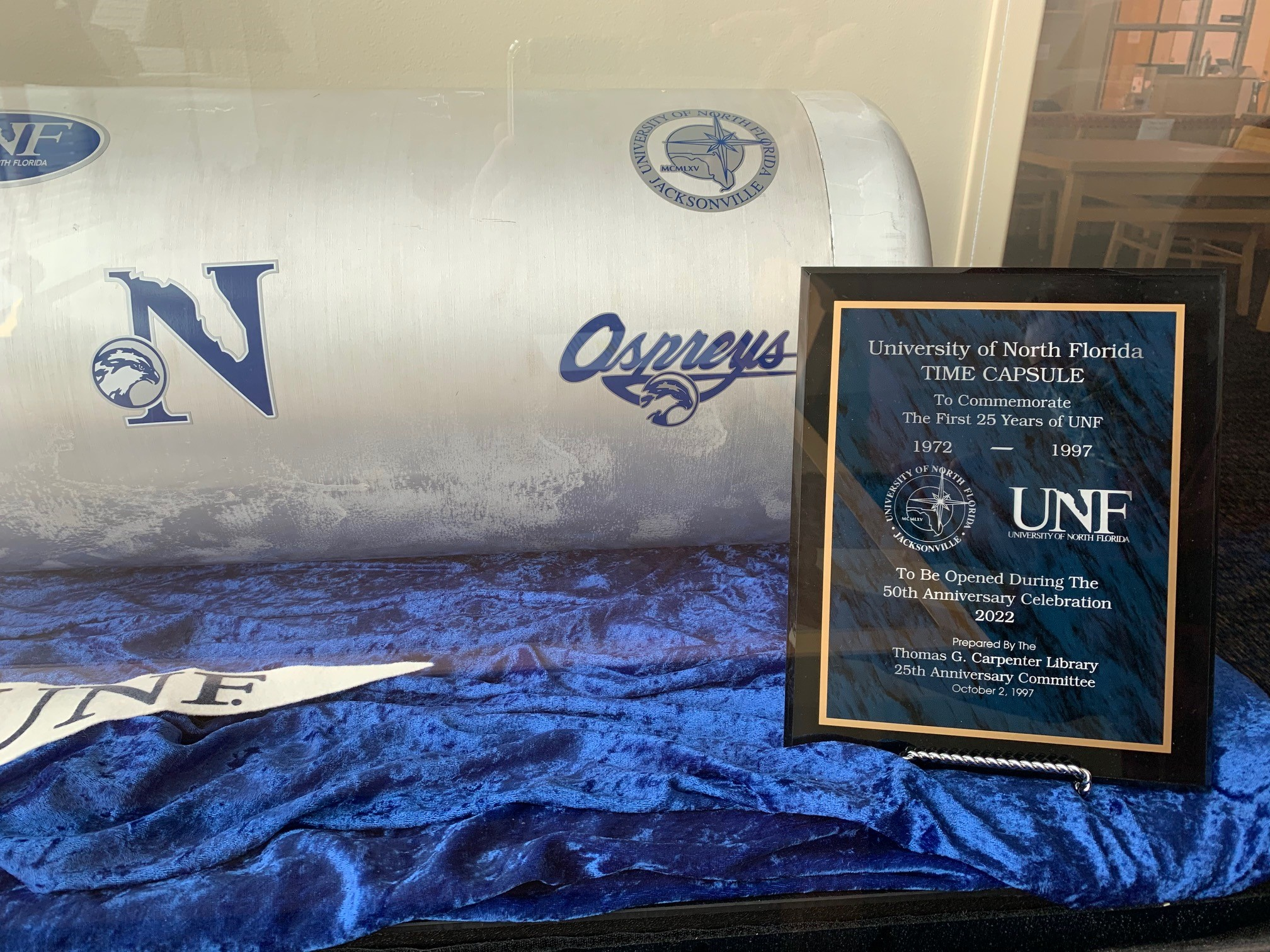 Photo of the 1972-1997 UNF Time Capsule, to be opened during the 50th Anniversary Celebration in 2022.