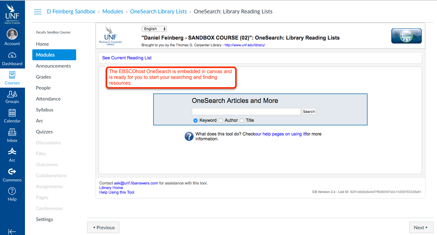 EBSCOhost OneSearch embedded in canvas