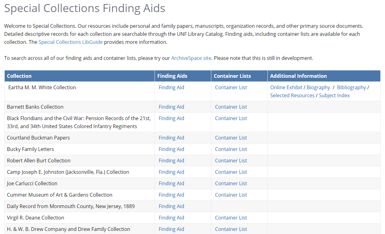 Screenshot of the Special Collections Finding Aids.