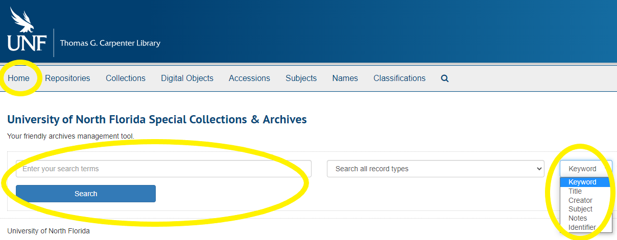 Screenshot of the ArchivesSpace webpage, highlighting the Home link and search engine.