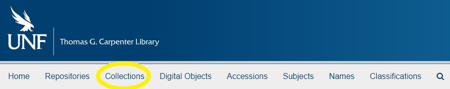 The ArchivesSpace webpage with the Collections link highlighted.