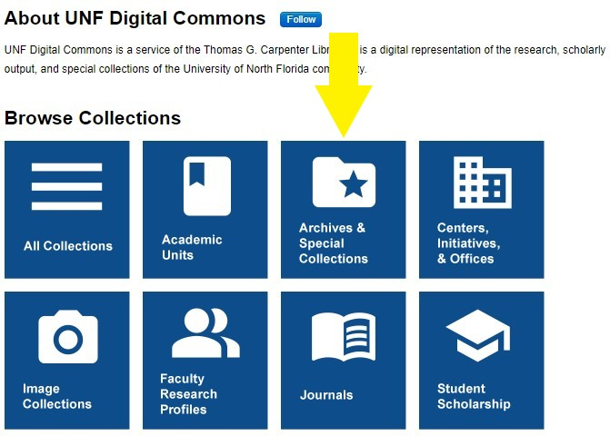 The UNF Digital Commons webpage, highlighting the Archives & Special Collections tile.