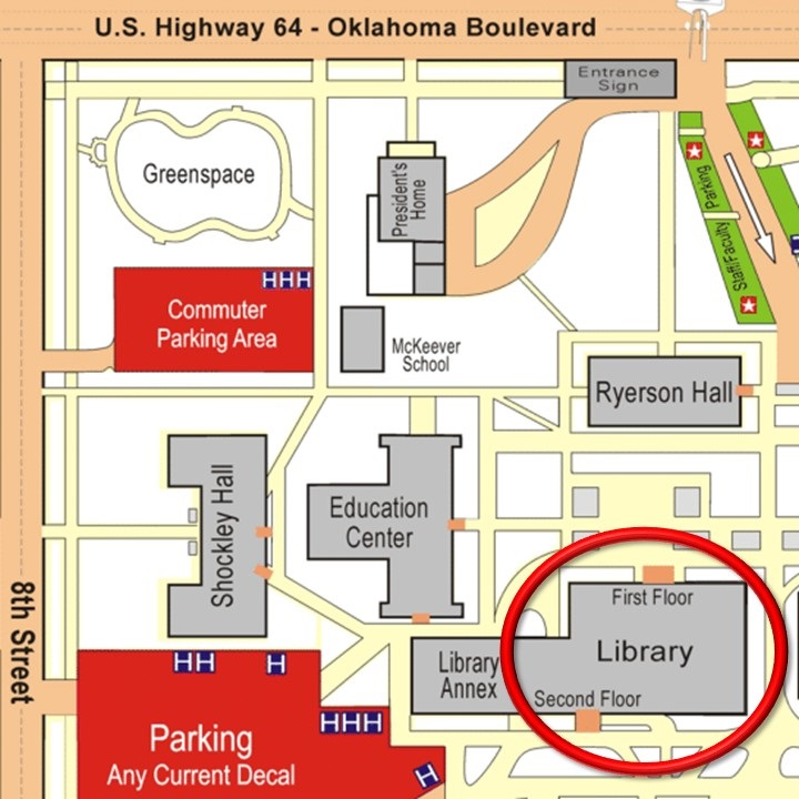 Campus map displaying the location of the J. W. Martin Library.